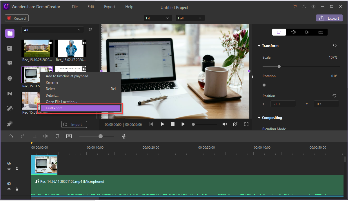 video export and upload
