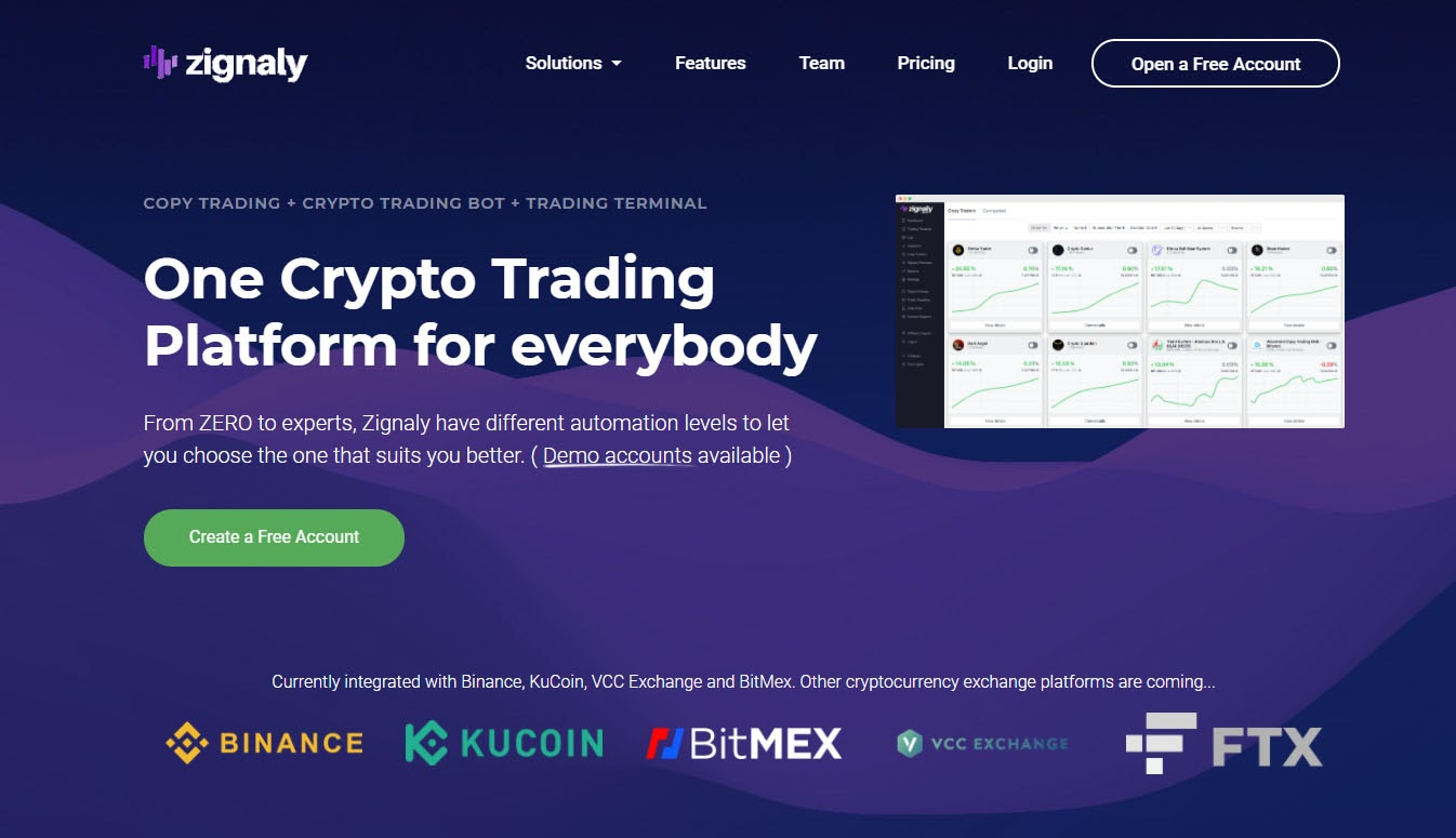 Zignaly is a cloud-based social crypto trading platform
