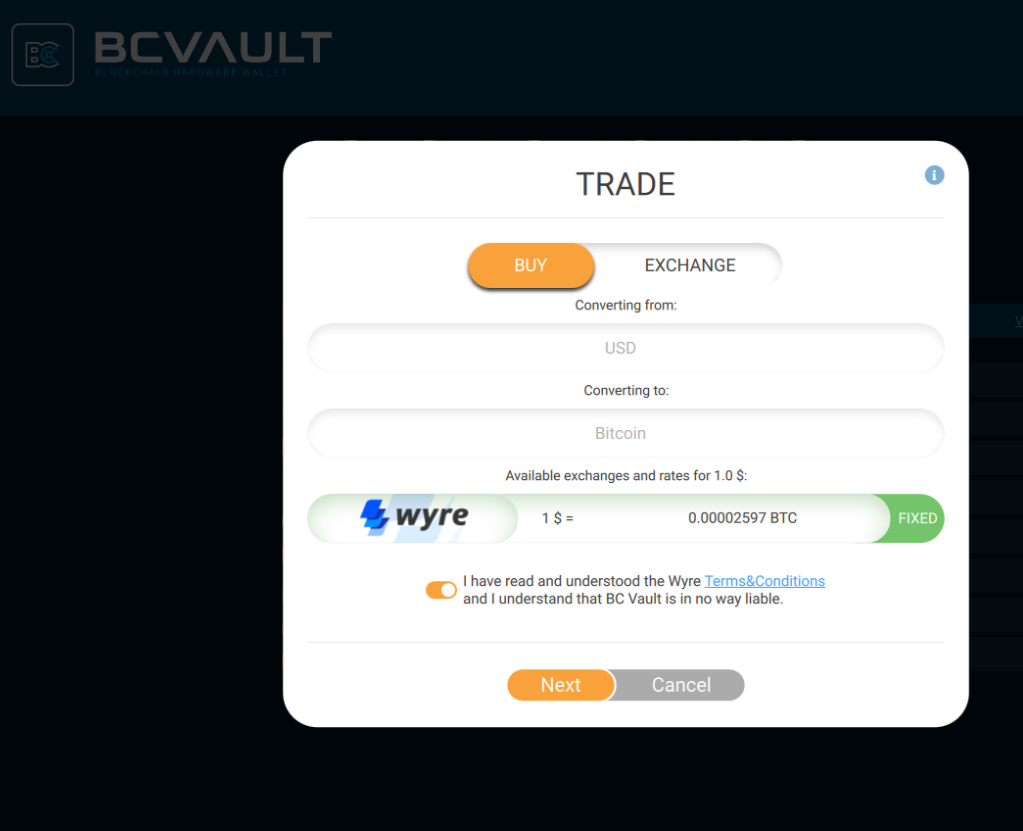 BC Vault hardware wallet to buy cryptocurrency