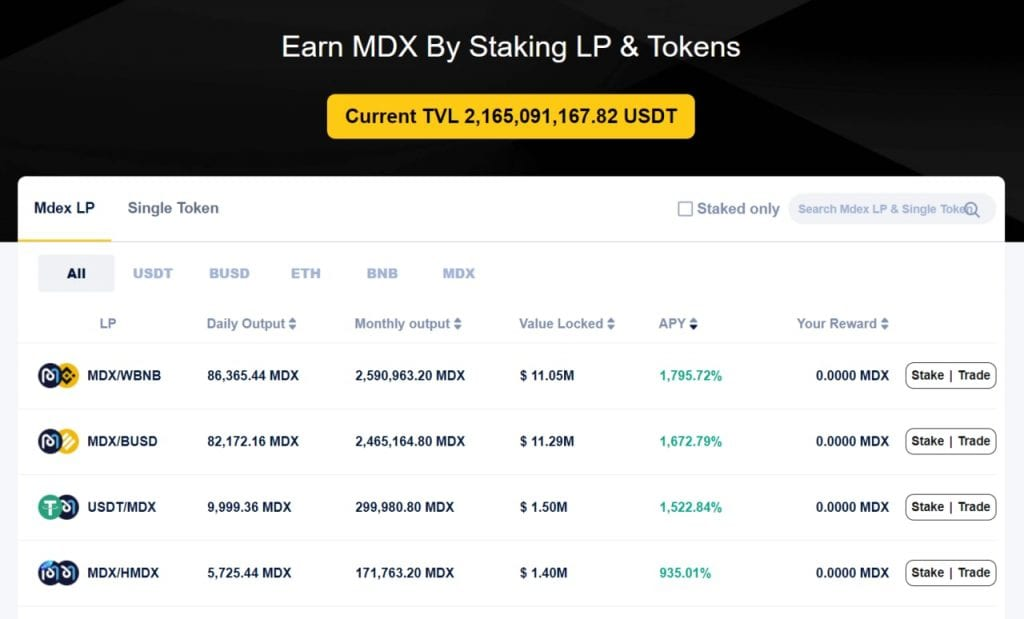 MDEX BSC LP Pair Staking