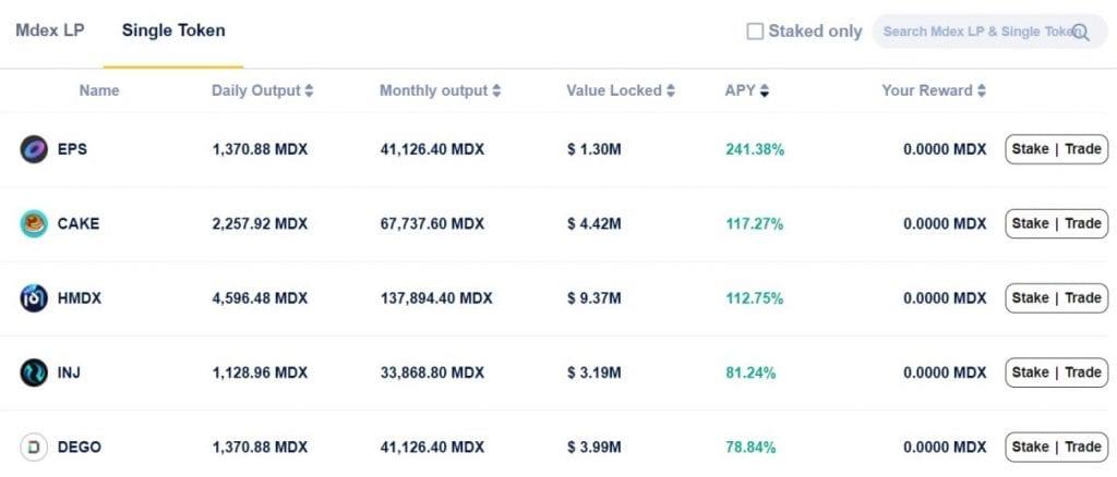MDEX BSC Liquidity Pool Single Token Staking