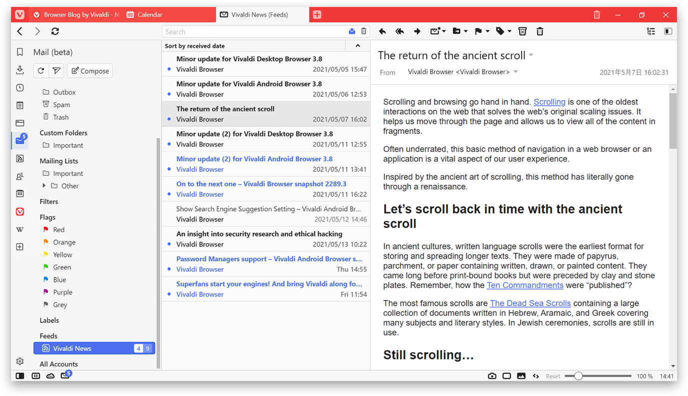 vivaldi feeds for blogs and newspapers