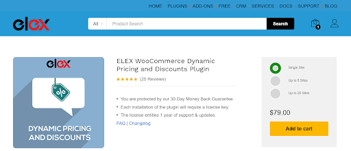 The ELEX Dynamic Pricing and Discounts plugin for WooCommerce