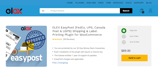 The ELEX EasyPost Shipping Method Plugin for Ecommerce