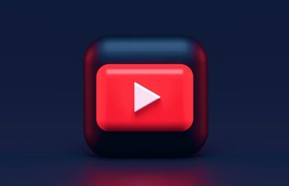 YouTube logo on dark blue background