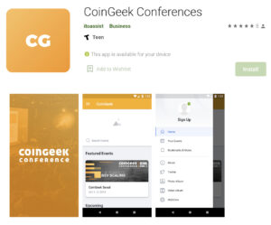 coingeek conferences mobile app on google play store